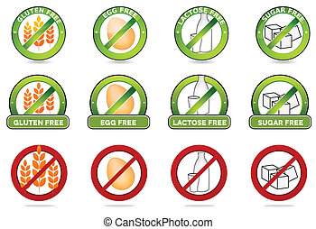 Huge collection gluten free, egg free, lactose free and sugar free signs. Various colorful designs, can be used as stamps, seals, badges, for packaging etc. Isolated on a white background.