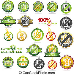 Huge collection gluten free seals. Various colorful designs, can be used as stamps, seals, badges, for packaging etc.