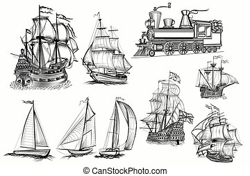 Huge collection of vector hand drawn high detailed ships and train.eps