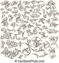 Huge collection of vintage vector hand drawn swirls for ...