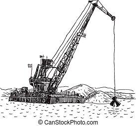 Huge crane barge Industrial ship that digs sand, marine dredging