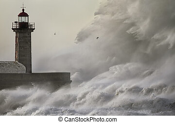 Huge crashing wave