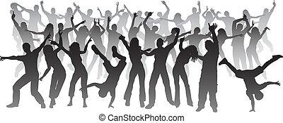 Huge crowd dancing - Silhouettes of a huge crowd of people...