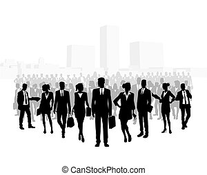 Huge crowd of business people
