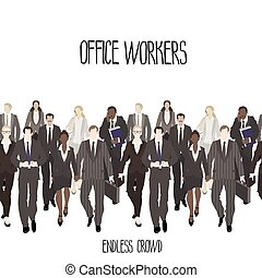 Huge crowd of office workers