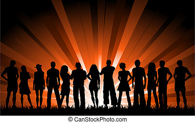 Huge crowd - Silhouette of a huge crowd of people against a...