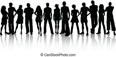 Silhouette of a huge crowd of people on a white background