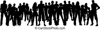 Silhouette of a huge crowd of people
