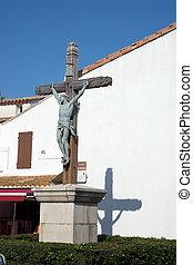 Huge crucifix in a town square