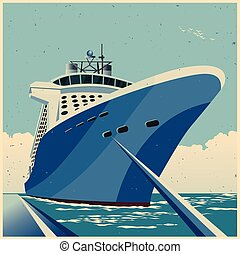 Huge Cruise ship at the pier retro poster