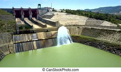 huge dam and water flow streams in green river - panoramic...