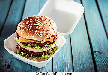 Huge double American cheeseburger
