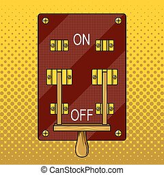 Huge electric knife switch off pop art vector