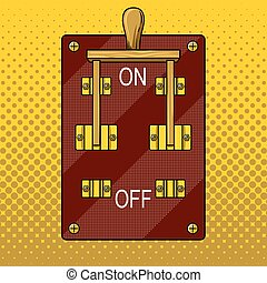 Huge electric knife switch on pop art vector