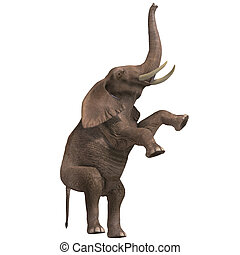 huge elephant - giant elephant. 3D render with clipping path...