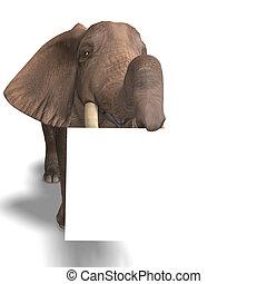 huge elephant - giant elephant holding a white sign. 3D...
