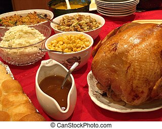 Huge feast of holiday food