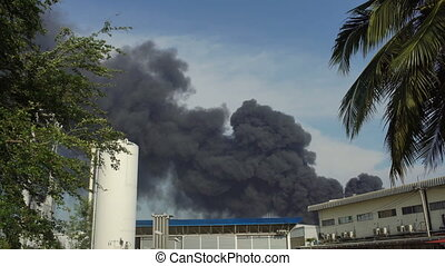 Huge fire blaze from burning oil factory in Bangkok Thailand