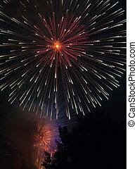 Huge Fireworks Explosion - A large fireworks shell explodes...