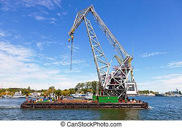 Huge floating crane