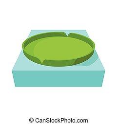 Huge floating lotus, icon in cartoon style - Huge floating...