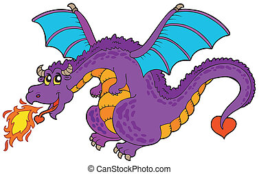 Huge flying dragon - vector illustration.