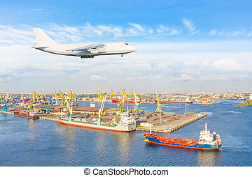 Huge freight airplane landing approach over the cargo seaport.