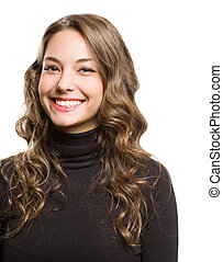 Huge friendly smile. - Portrait of a cheerful young brunette...