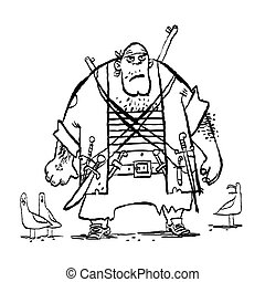Huge funny pirate and seagulls, cartoon style vector...