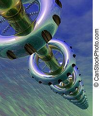 Huge futuristic space station in orbit - 3D rendered ...