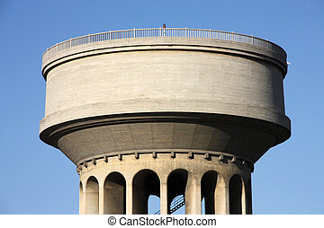 Huge, generic water tower in Madrid, Spain. Water supply infrastructure.