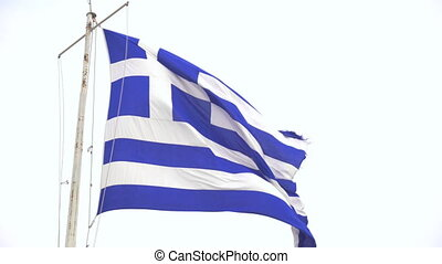 Huge greece flag fluttering in the sky.