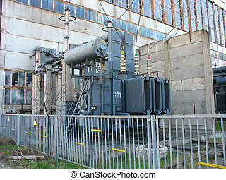 Huge high voltage electric converter at power plant