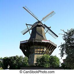 Huge, historic mill in Sanssouci Park, Berlin, Germany -...
