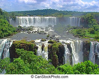 Huge Iguazu waterfalls, between Brazil and Argentina