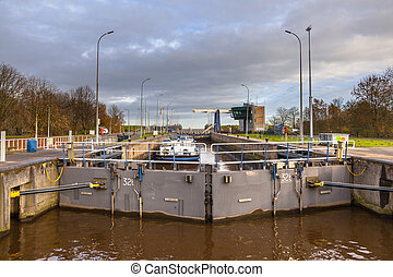 Huge Lock Chamber in the Netherlands