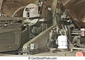 huge machine gun coastal defense