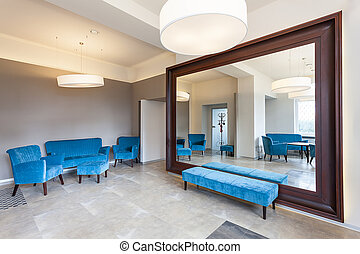 Huge mirror and sofa - Huge mirror with frame nad colorful...