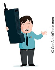 Cartoon of a man with a retro large cell phone.