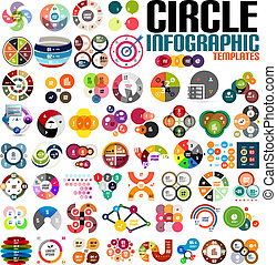 Huge modern circle infographic design template set. For...