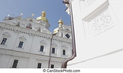 Huge monastery. White beautiful church. Architecture of the...