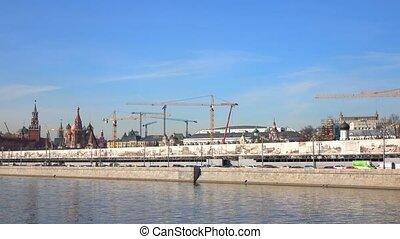 Huge Moscow construction site near Kremlin, Russia. 4K pan shot