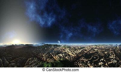 Huge Nebula and Alien Planet