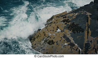 Huge Ocean Waves Smash Against The Rocks