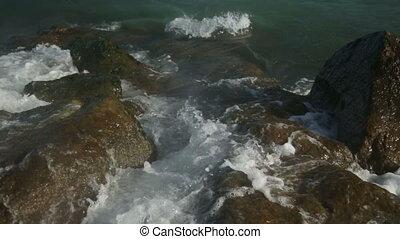 Huge Ocean Waves Smash Against The Rocks HD