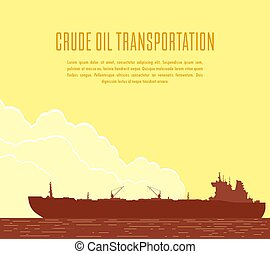 Huge Oil tanker. Vector illustration - Huge crude oil tanker...