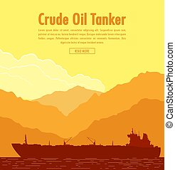 Huge Oil tanker. Vector illustration - Huge oil tanker near...