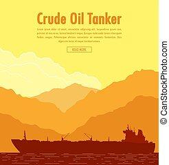 Huge Oil tanker. Vector illustration - Huge oil tanker near...
