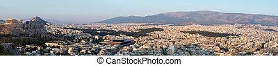 Huge panorama of Athens and Acropolis,famous landmark ,Greece
