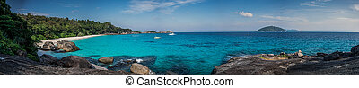 Huge Panorama of Perfect Tropical Island beach and rocks...